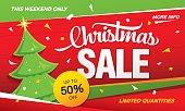 Christmas sale template banner. Vector illustration