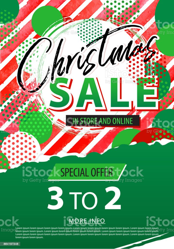 Christmas sale banner. Vector illustration watercolor red green stripes background. royalty-free christmas sale banner vector illustration watercolor red green stripes background stock vector art & more images of arts culture and entertainment