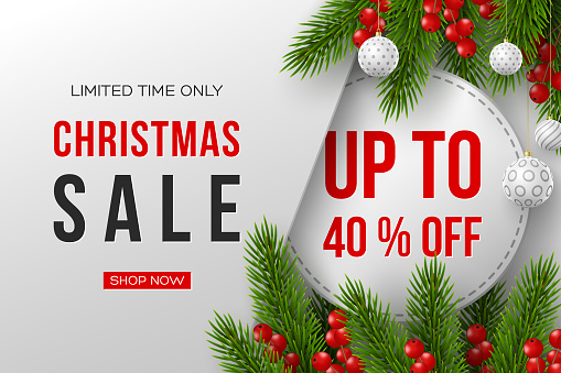 Christmas sale banner with decorative elements.