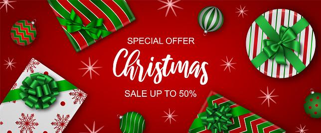 christmas sale banner with gift boxes and christmas balls