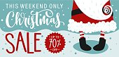 Christmas Sale banner with Santa Claus and Hand drawn lettering text