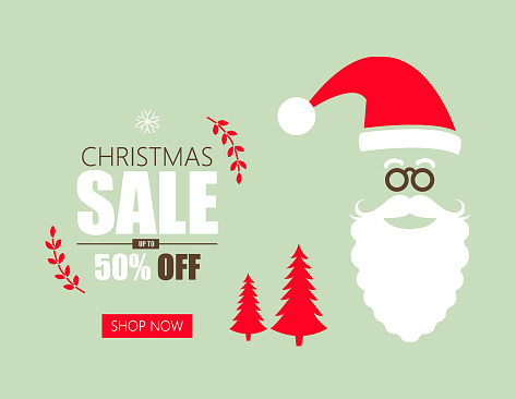 Christmas Sale banner with Santa Claus