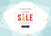 Merry Christmas Sale banner. Contemporary geometric background with bold typographic design and golden glitter elements. Horizontal template. Vector illustration. Pale Blue.