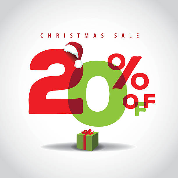 Christmas sale big bright overlapping design 20% off vector art illustration