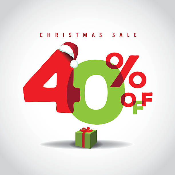 Christmas sale big bright overlapping design 40% off vector art illustration