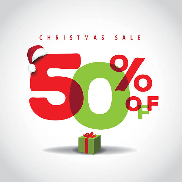 Christmas sale big bright overlapping design 50% off vector art illustration
