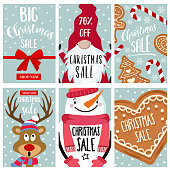 Christmas sale card collection, isolated items