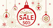 Christmas Sale Card Template - Vector Illustration