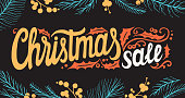 Christmas sale background with colorful holiday decorations on a chalkboard vector illustration banner for xmas special promotion. Design poster with vintage lettering and hand-drawn graphic elements.