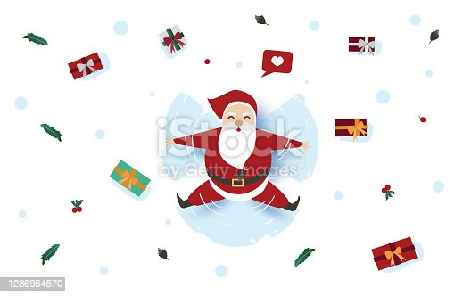 istock Christmas sale concept, Santa Claus on abstract background with text sale and gift,letter,light,star,Christmas tree, design for web banner, Christmas invitation card and new year festival. 1286954570