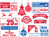 Christmas sale coupons/tags collection, vector illustration