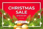 Christmas sale design with pine tree branches, gold balls and glowing light bulbs. Vector illustration.