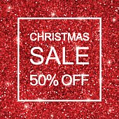 Christmas sale, discount background, red shiny glitter Vector