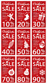 Christmas Sale Discount Card Banners - vector illustration