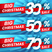 Christmas Sale Discount. Xmas advertising sales discounts deals, winter holiday special offer and shopping best deal. New year offers branch, luxury shopping 2019 banner vector set