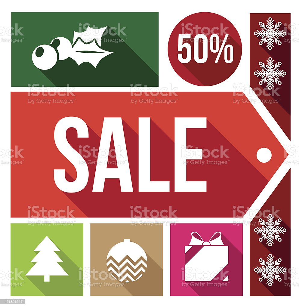 christmas sale flat icons royalty-free stock vector art