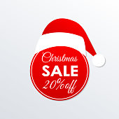 Christmas sale icon. 20% price off badge. Xmas and holiday discount design element with Santa Claus hat. Shopping decoration sticker or tag. Vector illustration.