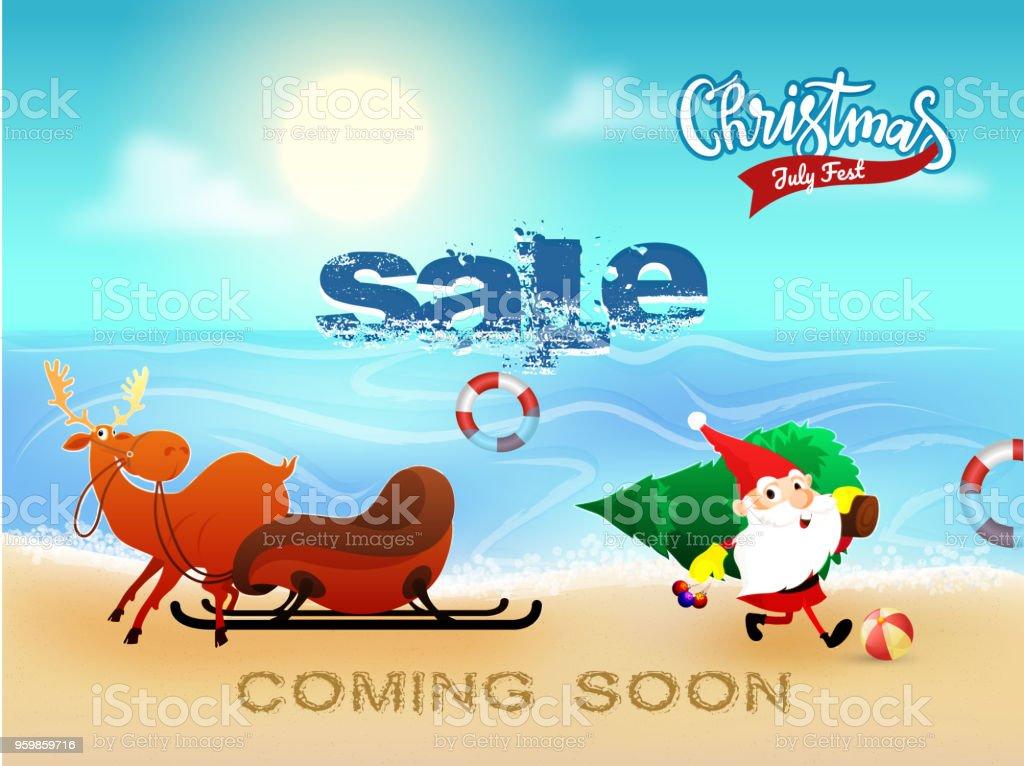 Weihnachtsverkauf Im Juli Banner Poster Oder Flyer Design Mit Santa ...