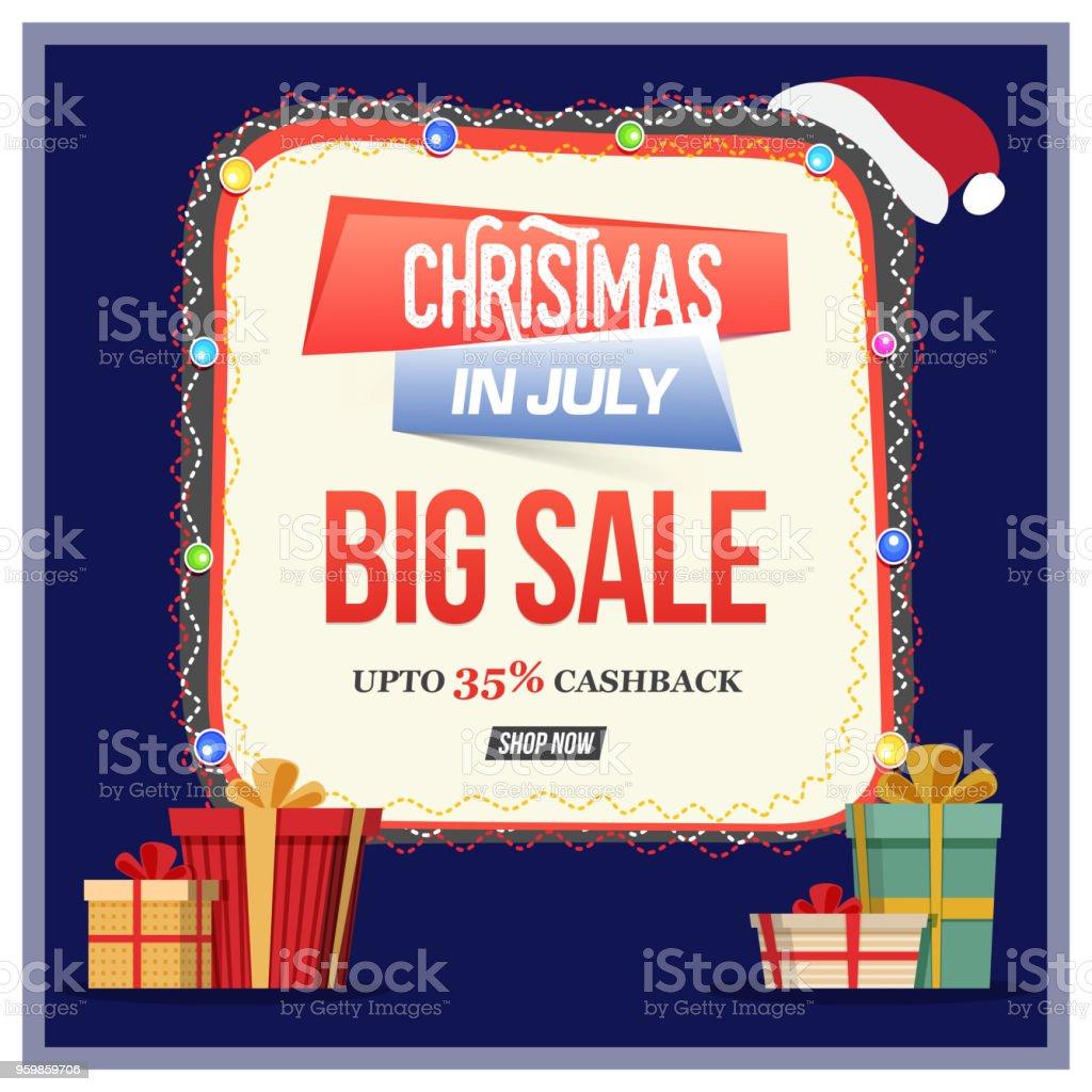 Weihnachtsverkauf Im Juli Plakat Banner Oder Flyer Design Mit ...