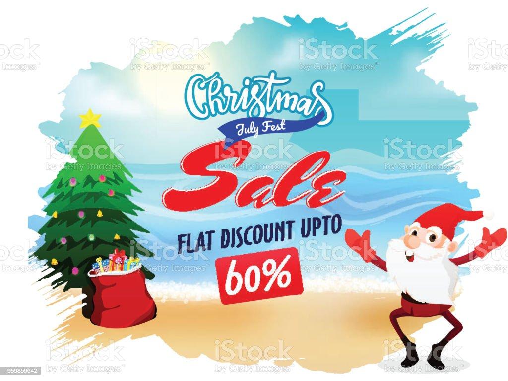 Weihnachtsverkauf Im Juli Plakat Banner Oder Flyer Design Mit Santa ...