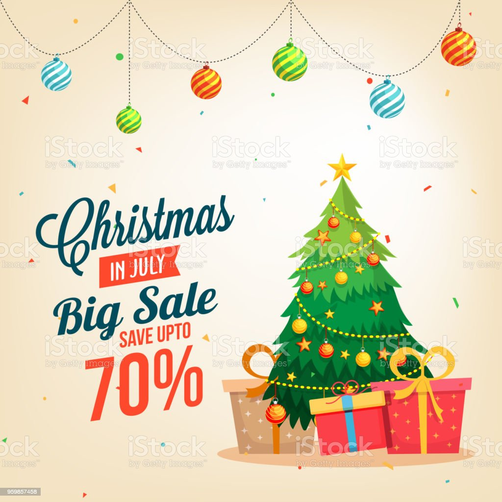 Christmas sale in July, poster, or banner template, with Christmas tree and gift boxes. wth date and offers details. - Векторная графика Август роялти-фри