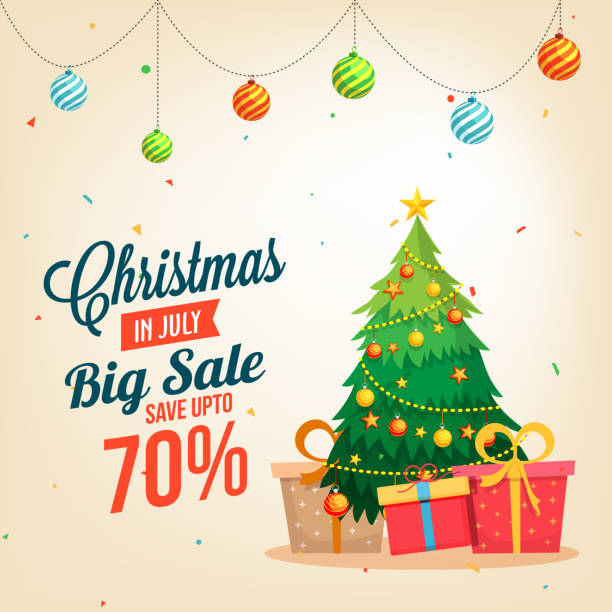 christmas sale in july, poster, or banner template, with christmas tree and gift boxes. wth date and offers details. - holiday background stock illustrations