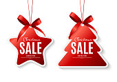 Christmas Sale Labels with Bow. Vector Illustration EPS10
