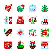 Colorful Season Christmas sale icon set. New year flat style clearance concept collection Xmas color web, card, print, office, business, banner, label design Sign isolated on white vector illustration