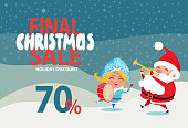 Final Christmas sale 70% off promo poster Santa and Snow Maiden playing on trumpet and drum on winter landscape vector illustration discount banner