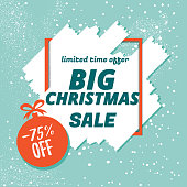 Christmas sale on a blue background. Vector stock template banner with Christmas ball.