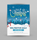 Christmas Sale Poster Design Template with 50% Discount Tag - A4 Size Christmas Sale Poster Design Layout Template