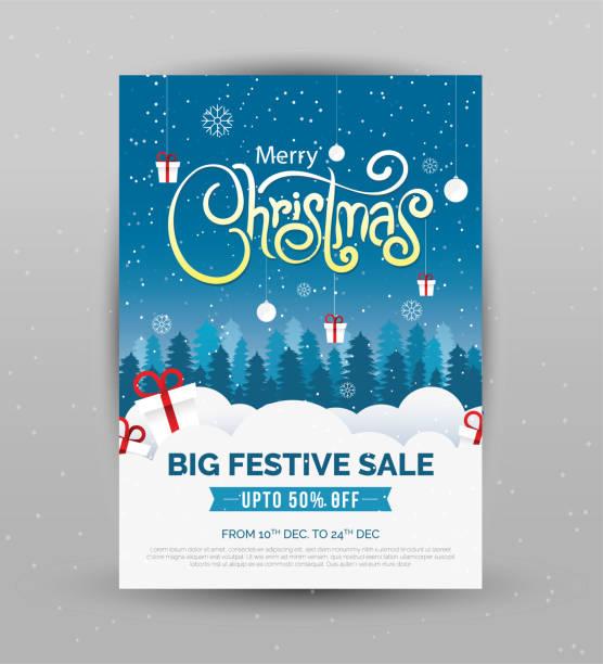 ilustrações de stock, clip art, desenhos animados e ícones de christmas sale poster design template - background christmas snow