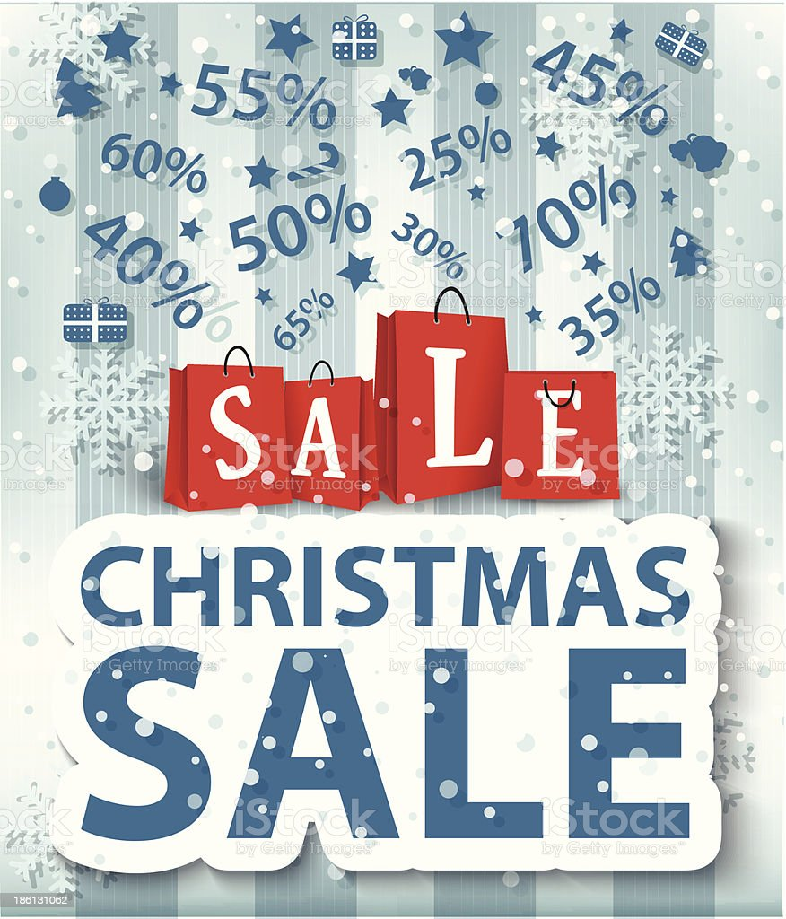 Christmas sale poster design with shopping bags royalty-free stock vector art