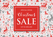 Christmas Sale poster with decorations. Vector.