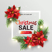 Christmas Sale promotion banner with special offer. Abstract vector background with black and red typographic label for Xmas clearance marketing flyer.