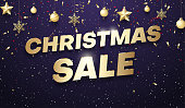 Purple shiny Christmas sale promotion poster with golden Christmas balls and color confetti. Vector background.