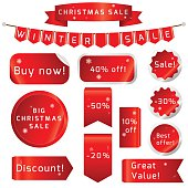 Christmas sale Ribbons Set isolated On White Background. Vector Illustration