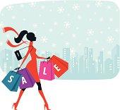 Woman walking with shopping bag - Christmas sale.