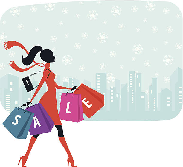 christmas sale shopping - winter fashion stock illustrations, clip art, cartoons, & icons