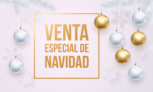 Christmas Sale Spanish Venta de Navidad golden white promo poster
