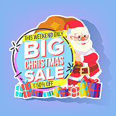 Christmas Sale Sticker Vector. Santa Claus. Shopping Concept. Black Friday Holiday Cheap Sign. Discount Tag, Special Offer Banner. Isolated Illustration