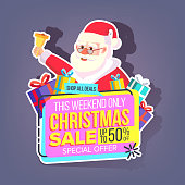 Christmas Sale Sticker Vector. Santa Claus. Mega Sale Holiday Poster Design. Buy Label. Discount And Promotion. Isolated Illustration