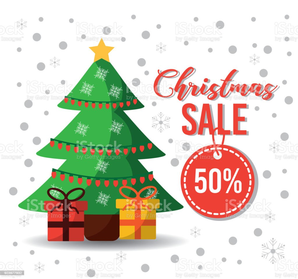 Christmas Sale Tag Offer Tree Gifts Decoration Card Stock Vector Art ...