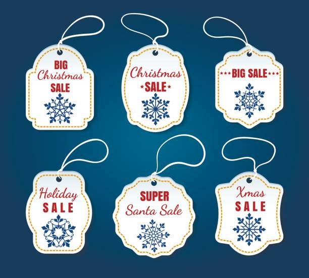 ilustrações de stock, clip art, desenhos animados e ícones de christmas sale tags on blue background - tag vector