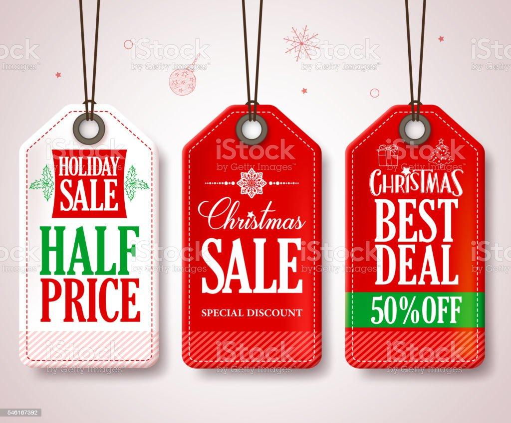 Christmas Sale Tags Set for Christmas Season Store Promotions - ilustração de arte em vetor