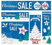 Holiday sale tag set with 3D paper style trees and snow. The background is a  snowflake pattern with can be used by releasing the clipping mask. Great for holiday sales, Boxing day sales or greeting cards