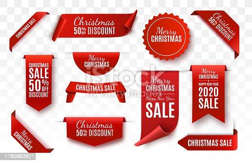 istock Christmas Sale Tags. Vector banner 1180960921