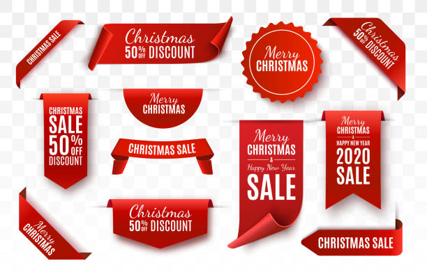 Christmas Sale Tags. Vector banner Christmas Sale Tags collection. Red scrolls and banners isolated. Merry Christmas and Happy New Year labels. Vector Price Tags illustration label stock illustrations
