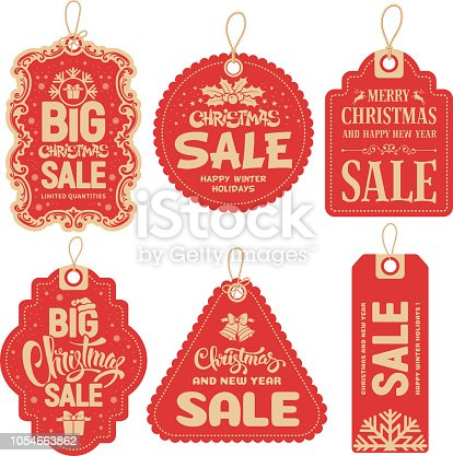Christmas Sale tags collection. Vector illustration.