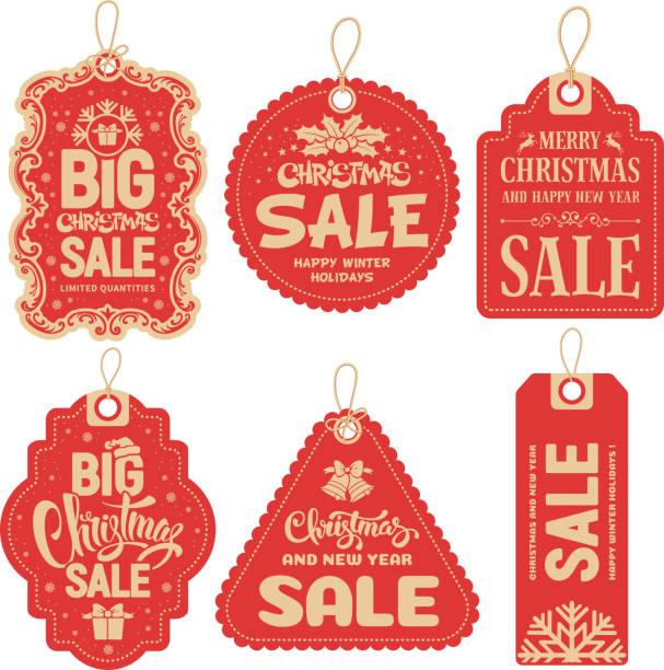 Christmas Sale Tags Christmas Sale tags collection. Vector illustration. label stock illustrations